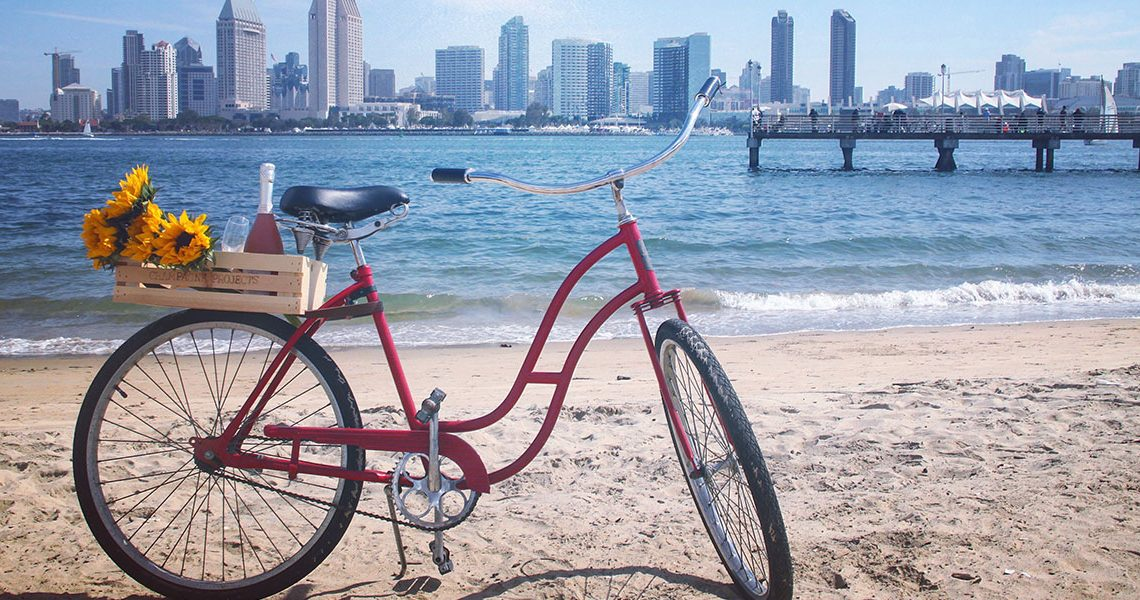 Beachside Town Hangouts - bicycle on San Diego Beach